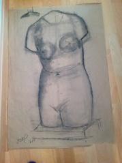 Primer dibujo de la escultura